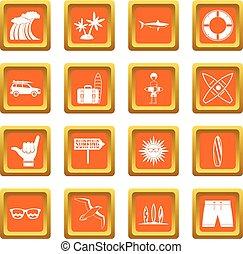 Surfing icons set orange