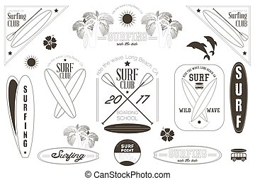 Surfing Labels Black and White Set