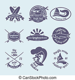 Beach longboard surfing summer yachting labels black set isolated vector illustration