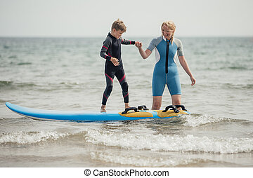 Surfing Lessons at the Beach