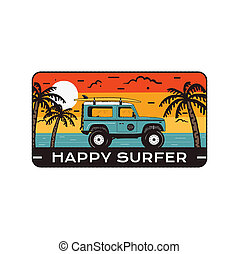 Surfing Logo Emblem. Vintage hand drawn travel badge, poster. Featuring surf car riding on the beach and sea landscape. Happy Surfer quote. Stock summer insignia