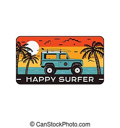 Surfing Logo Emblem. Vintage hand drawn travel badge, poster. Featuring surf car riding on the beach and sea landscape. Happy Surfer quote. Stock vector summer insignia