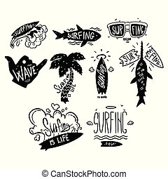 Surfing logo set, windsurfing motivational quotes, hand...
