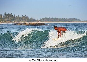 surfing, młody, morze, człowiek