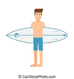 Surfing Man Standing With Surfboard