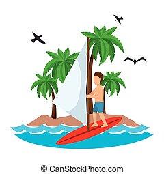 surfing man waves beach tropical