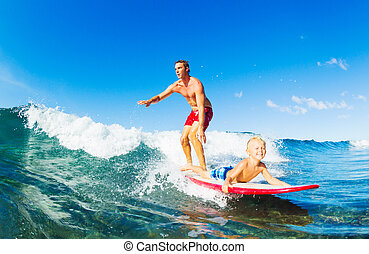 surfing, ojciec, syn