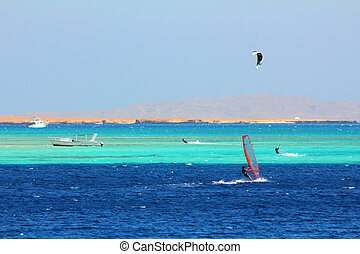 surfing on red sea