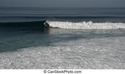 surfing on the waves at madeira belonging to portugal