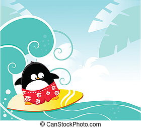 Surfing Penguin - Cute penguin surfing
