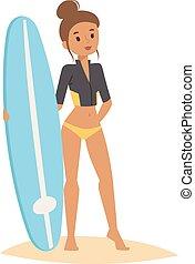 Surfing people vector girl.