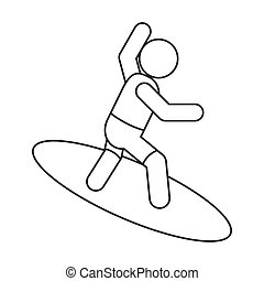 surfing pictogram icon