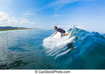 Surfing - Surfer Riding Large Blue Ocean Wave