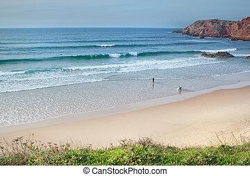 surfing, plaża, portugal.
