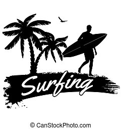 Surfing poster - Surfing in vitage style poster, vector...