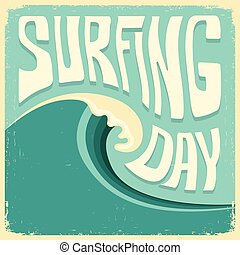 Surfing poster with big blue ocean wave and text