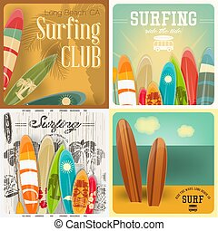 Surfing Posters Set