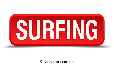 Surfing red 3d square button isolated on white