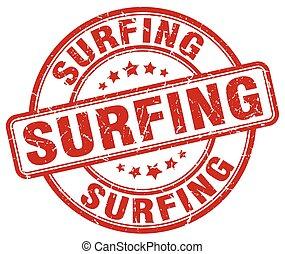surfing red grunge round vintage rubber stamp