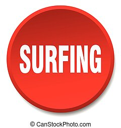 surfing red round flat isolated push button