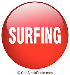 surfing red round gel isolated push button
