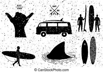 Surfing resources, grunge style. Vector layered