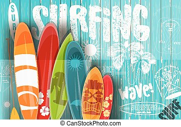 Surfing Retro Poster on Blue Wooden Background