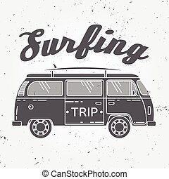 surfing, retro, zomer, auto., achtergrond., uitstapjes, strand, branding, badge., pictogram, vector, buitenshuis, rv, design., embleem, raad, ouderwetse , surfer, spandoek, concept