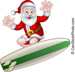 Surfing Santa - Santa surfing and waving from his surfboard...
