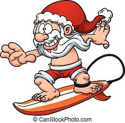 surfing, santa
