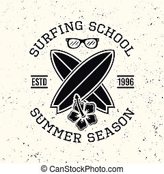 Surfing school black vintage vector emblem