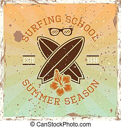 Surfing school colored vintage vector emblem