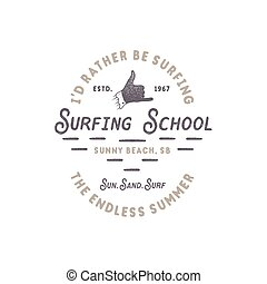Surfing school vintage emblem. Retro logo design with shaka...