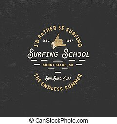 Surfing school vintage emblem. Retro logo design with shaka sign and typography elements. Stock vector isolated on dark old style background