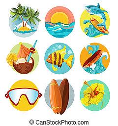 surfing, set, iconen