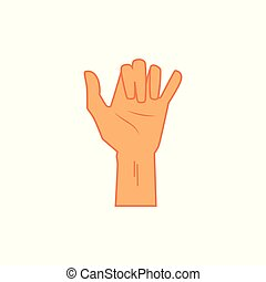 Surfing shaka hand sign, icon in flat cartoon style. Hang...