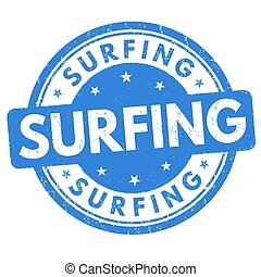 Surfing sign or stamp - Surfing grunge rubber stamp on white...