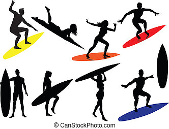 surfing, silhouette