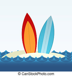 Surfing - Simple vector illustration of two surfing boards...