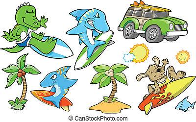 surfing, spiaggia, estate, vettore, set
