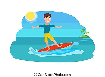 Surfing Sport Activity and Boy Vector Illustration