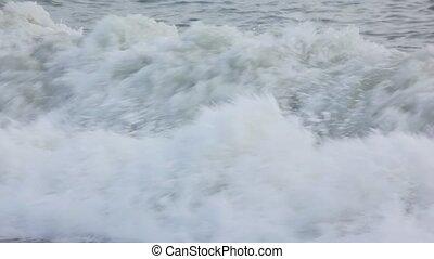 surfing, spumous, morze, fale