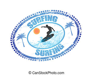 Surfing stamp - Abstract grunge rubber stamp with the word ...