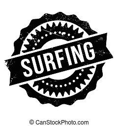 Surfing stamp rubber grunge