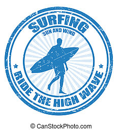 Surfing grunge rubber stamp with surfer silhouette, vector illustration