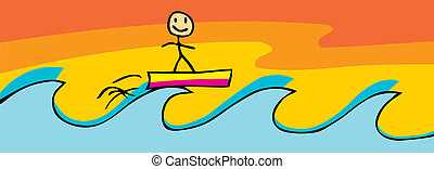 Surfing Stick Figure - Smiling stick figure on surfboard...