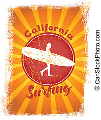 Surfing styled illustration with sunshine at the background.