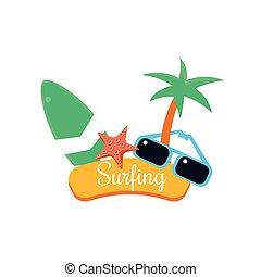 Surfing. Summer Vacation. Vector Illustration
