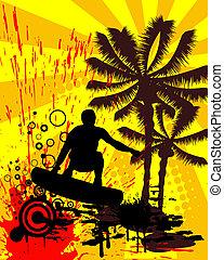surfing, -, summertime