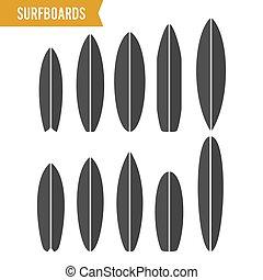 surfing, surfboard, set., isolato, fondo., vettore, nero, asse, bianco, simbolo, icona